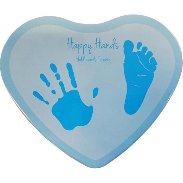 Happy Hands - Cutie in forma de inimioara pentru mulaj manuta sau piciorus - bleu