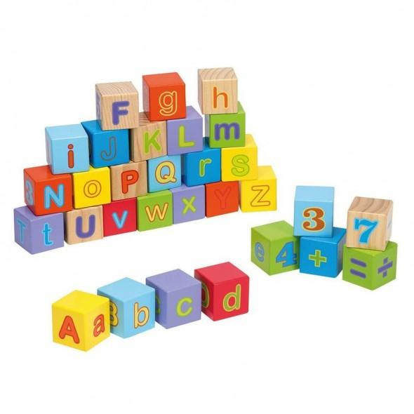 Cuburi din lemn Alfabet Joueco