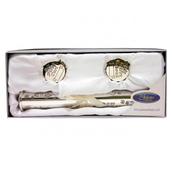 Juliana - Set argintat cu suport certificat + cutiute prima suvita si primul dintisor