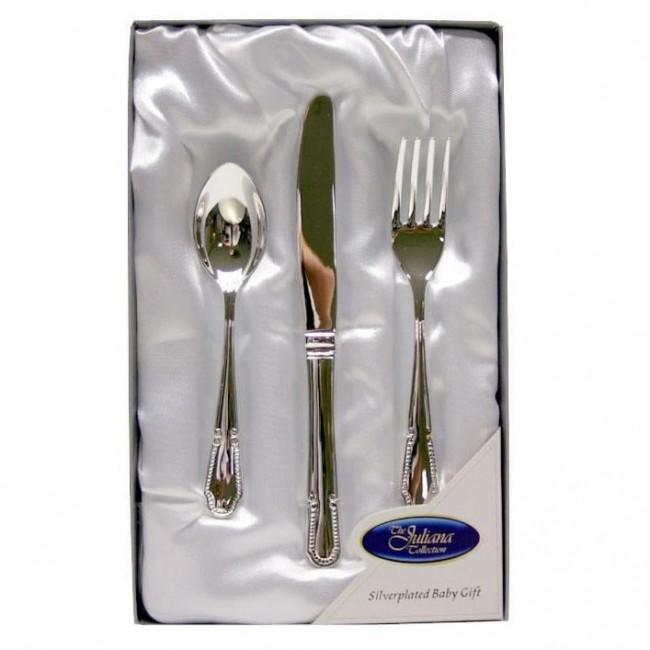 Juliana - Set cadou 3 tacamuri placate cu argint