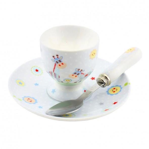 Little Sunshine - Set bleu pentru mic dejun cu suport pentru ou
