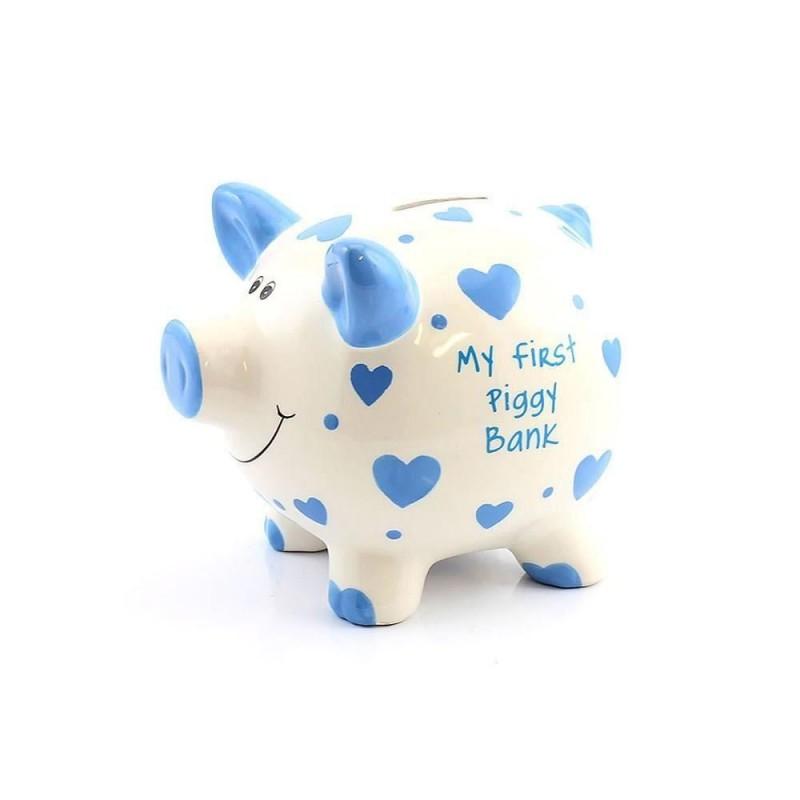 Pusculita din ceramica My First Piggy Bank cu inimioare bleu krbaby.ro
