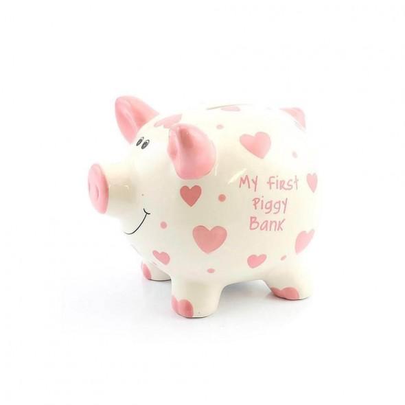 Pusculita din ceramica My First Piggy Bank cu inimioare roz
