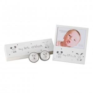 Set suport certificat de nastere, cutiute prima suvita&primul dintisor si rama foto