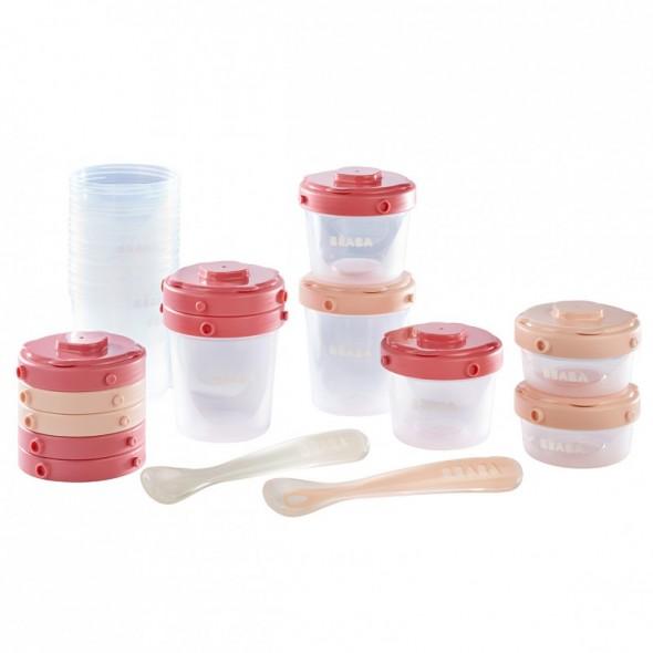 Set 12 recipiente ermetice si 2 lingurite silicon roz