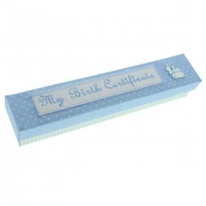 Suport bleu pentru certificatul de nastere