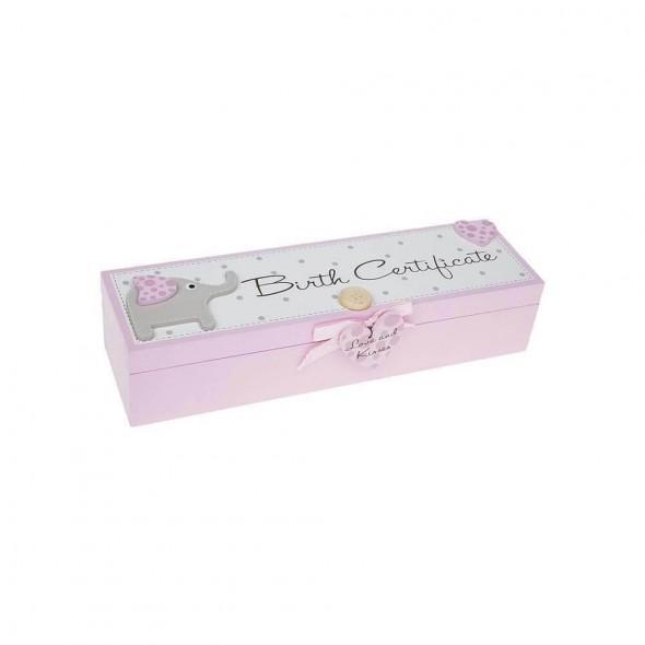 Suport roz cu elefantei pentru certificatul de nastere