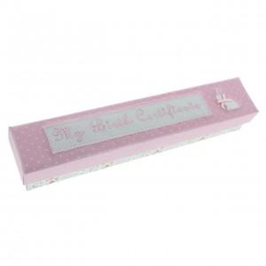Suport roz pentru certificatul de nastere