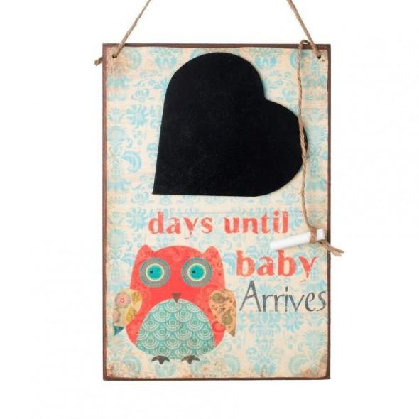 Tablita cu bufnita days until our baby