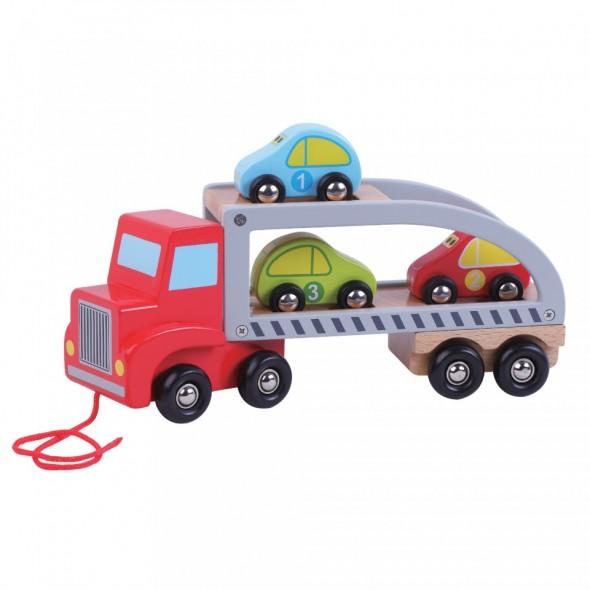 Jucarie din lemn Transportator de masini