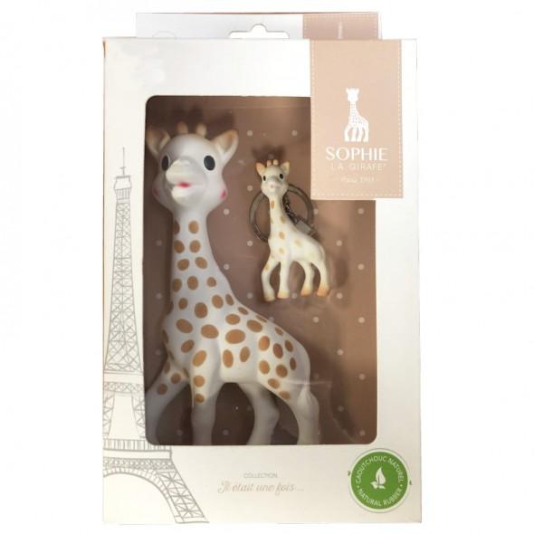 Vulli Set Girafa Sophie in cutie cadou cu breloc