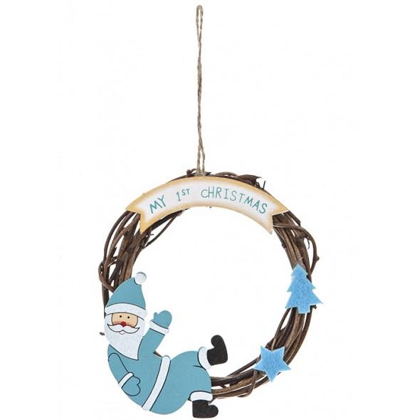 Decoratiune bleu din ratan pentru primul Craciun al bebelusului