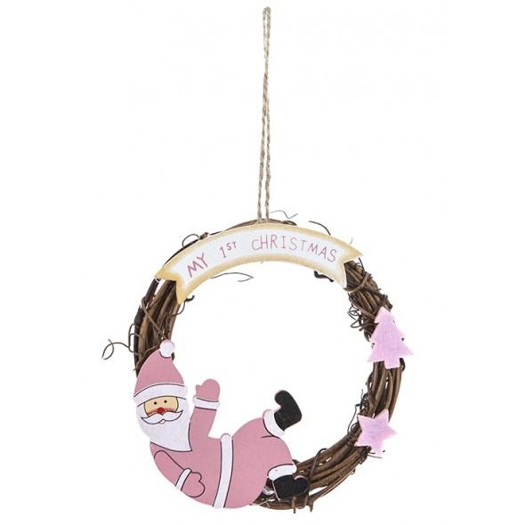 Decoratiune roz din ratan pentru primul Craciun al bebelusului