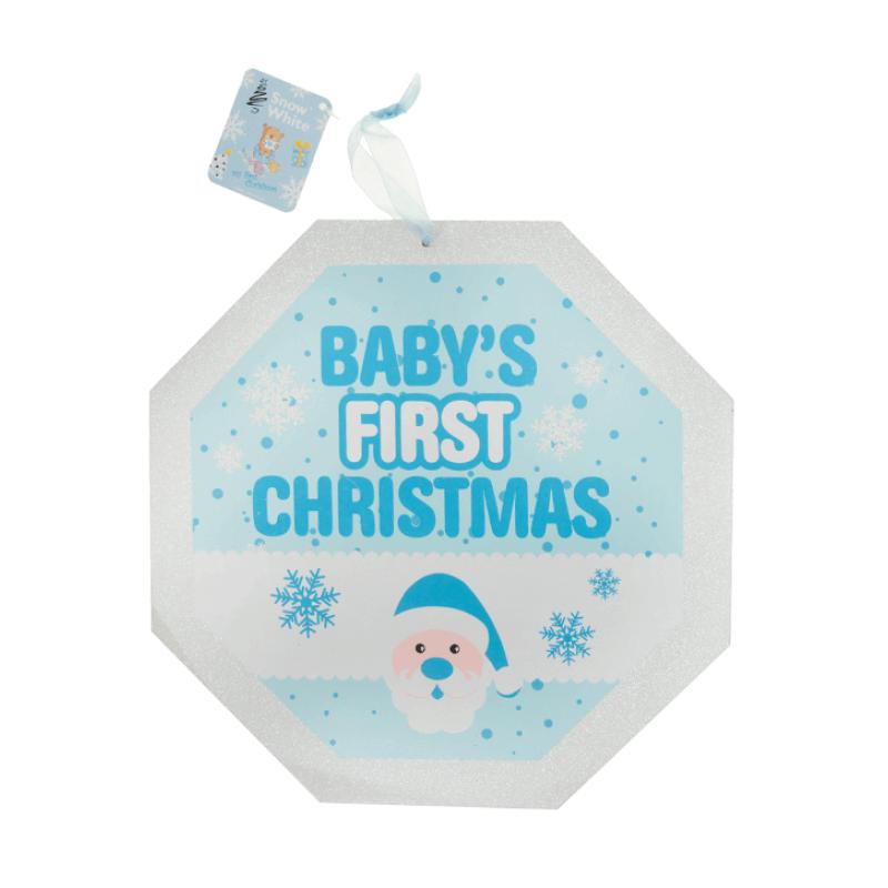 Placuta decorativa bleu cu sclipici Babys first Christmas krbaby.ro