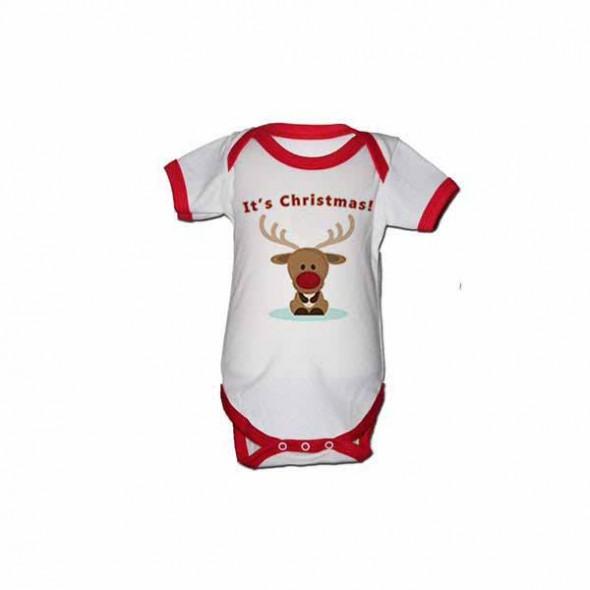 Body bebe cu maneca scurta It's Christmas 0-3 luni