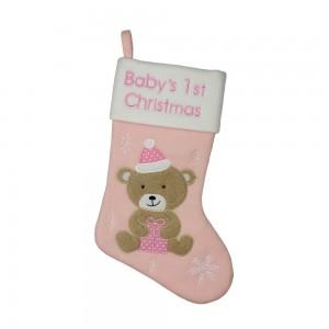 Cizmulita roz pentru cadouri Baby's First Cristmas