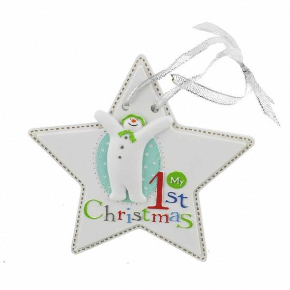 Steluta ornament My First Christmas cu om de zapada