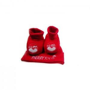 Set pentru Craciun cu botosei si caciulita - rosu