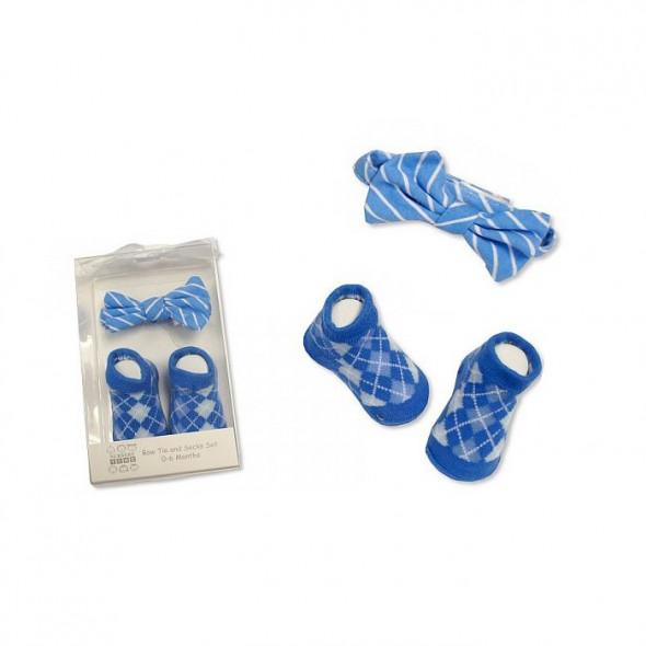 Set cadou baietei cu sosete si papion albastru