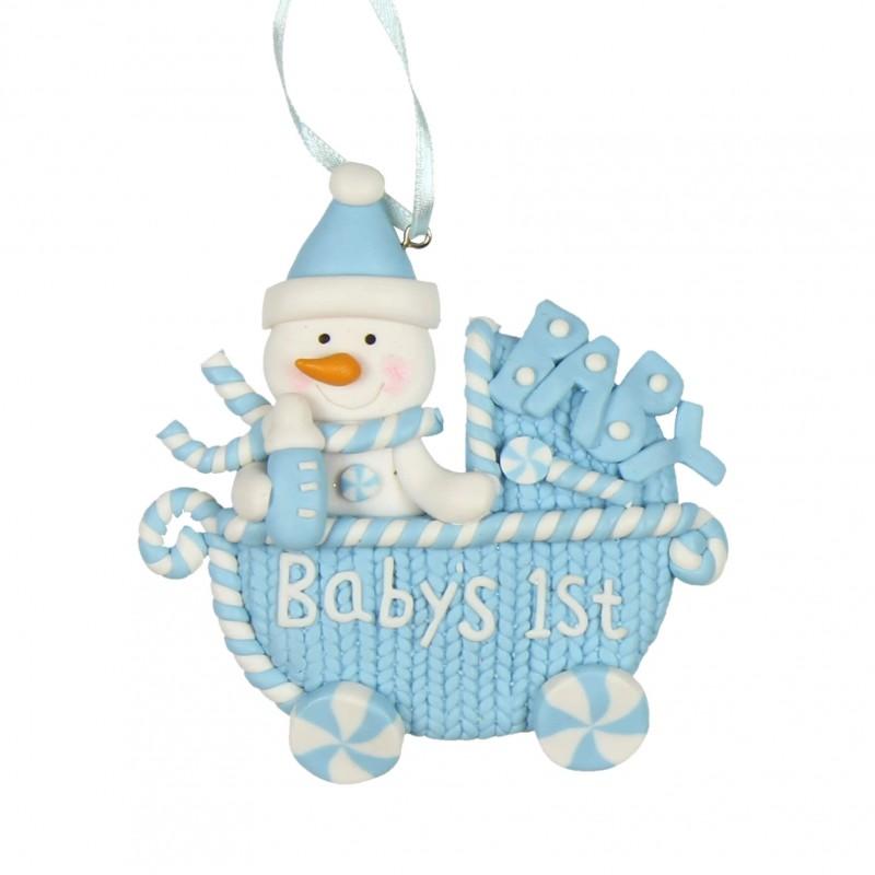Decoratiune carucior bleu Babys 1st Christmas krbaby.ro