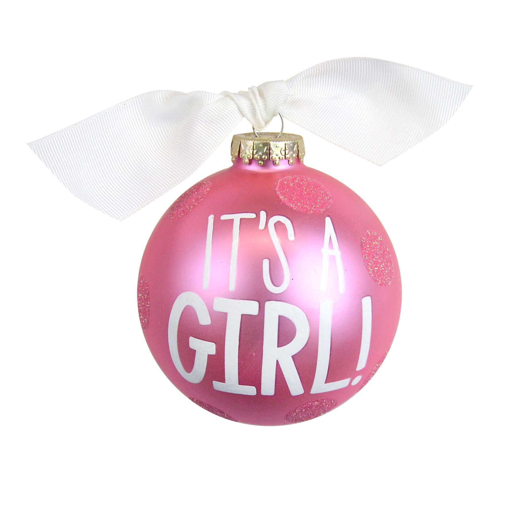 Glob roz pentru Craciun cu mesajul It's a Girl