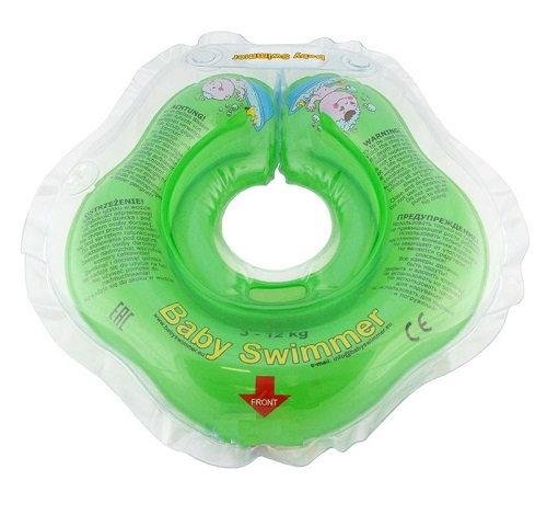 Babyswimmer - Colac verde jumatate transparent 0-24 luni