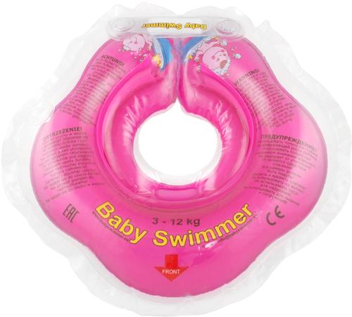 Babyswimmer - Colac roz jumatate transparent 0-24 luni