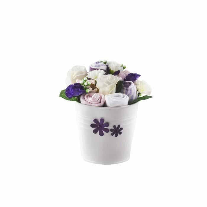 Buchet de flori mov din hainute pentru fetite - 7 piese