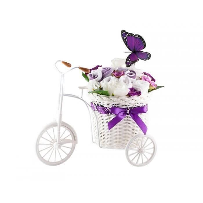 Bicicleta cu flori din hainute si fluture mov pentru fetite 10 piese