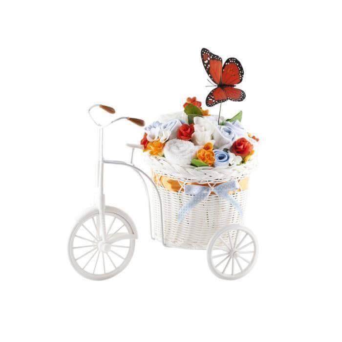 Bicicleta cu flori din hainute si fluture portocaliu pentru baietei  10 piese