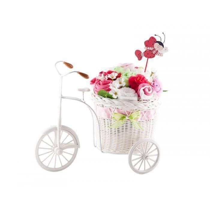 Bicicleta cu flori din hainute si gargarita pentru fetite 10 piese