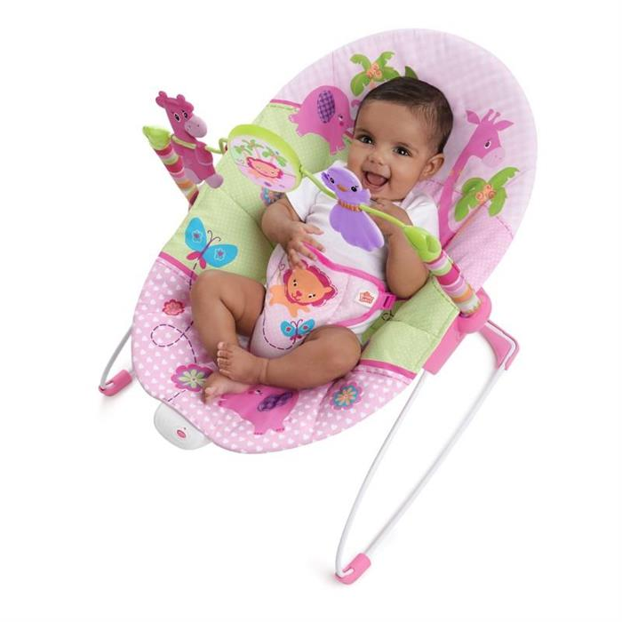Bright Starts - Balansoar cu vibratii Sweet Safari Pretty In Pink