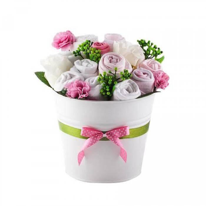 Buchet de flori din hainute pentru fetite - 11 piese