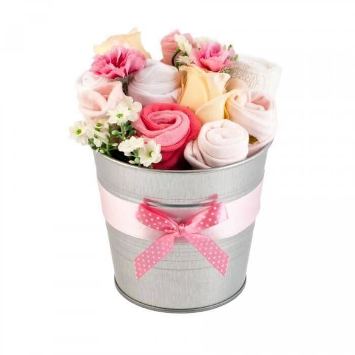 Buchet de flori din hainute pentru fetite - 7 piese