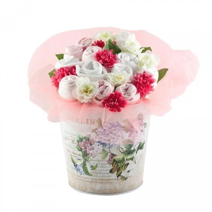 Buchet mare de flori din hainute pentru fetite - 13 piese