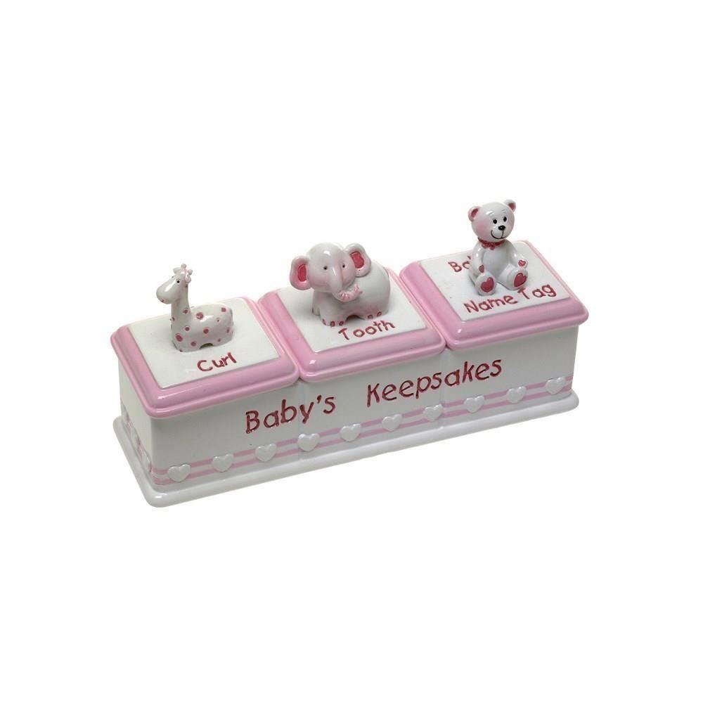Cutiuta tripla roz pentru pastrarea amintirilor