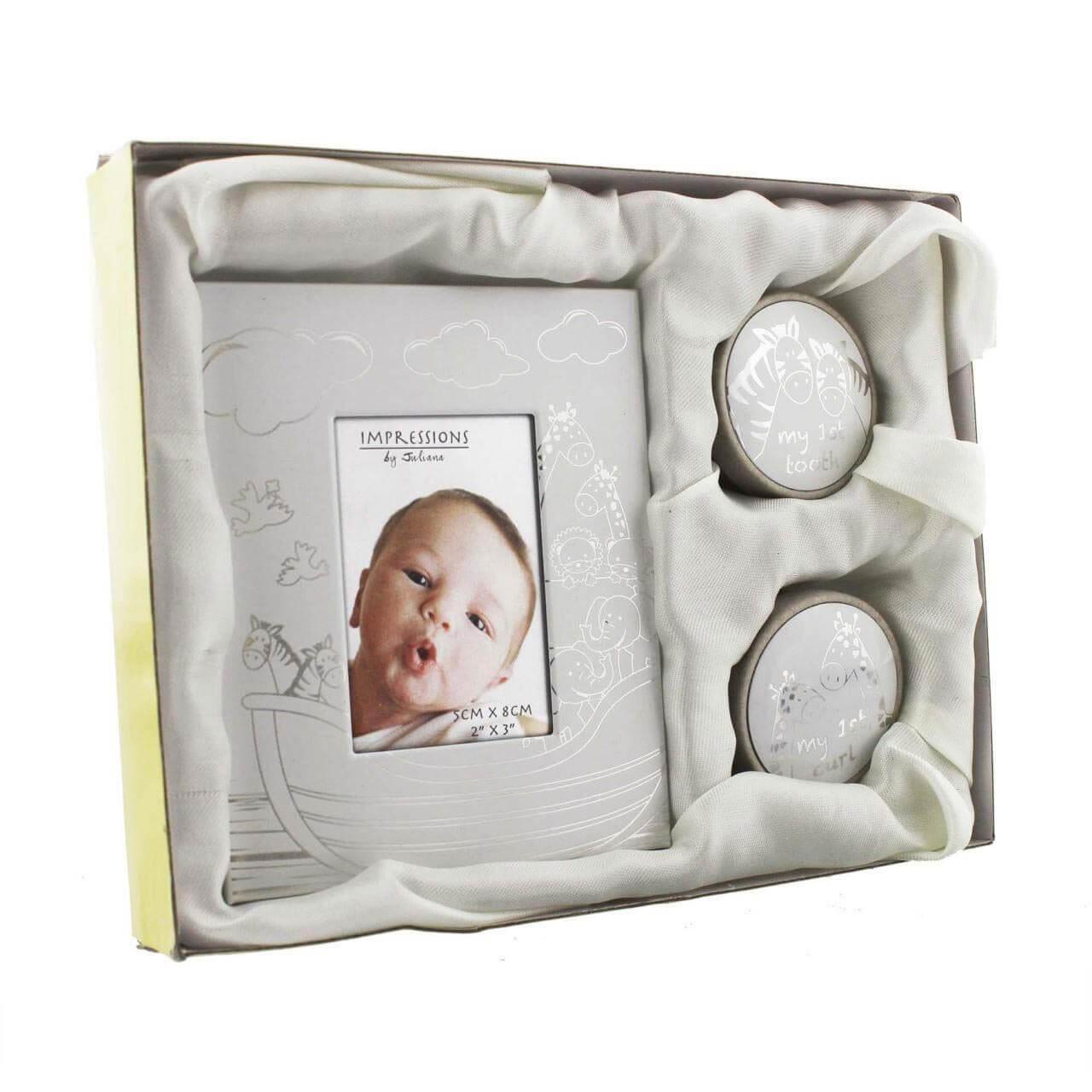 Juliana - Set cadou rama foto, cutiuta prima suvita si cutiuta primul dintisor Arca lui Noe