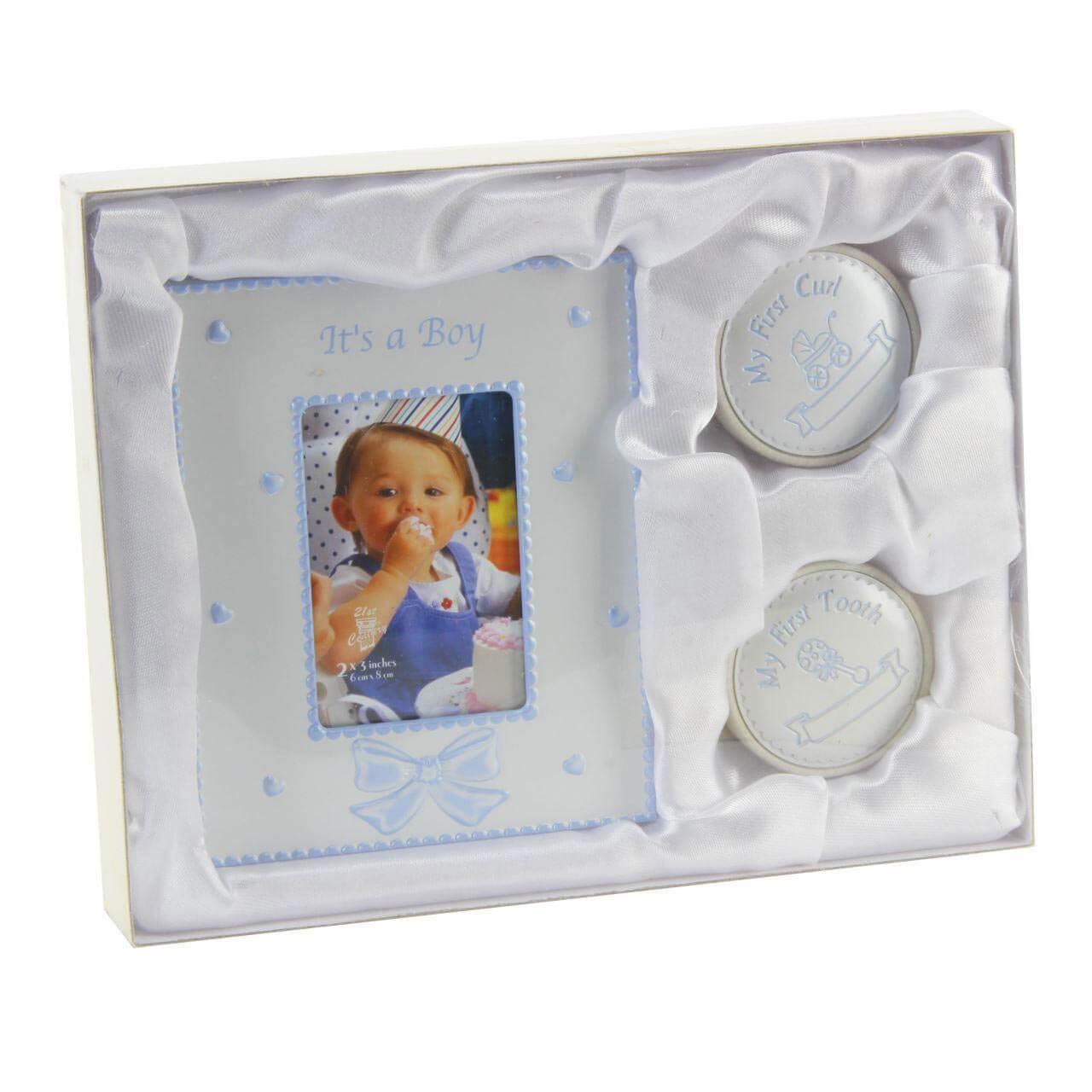 Juliana - Set cadou rama foto, cutiuta prima suvita si cutiuta primul dintisor Blue