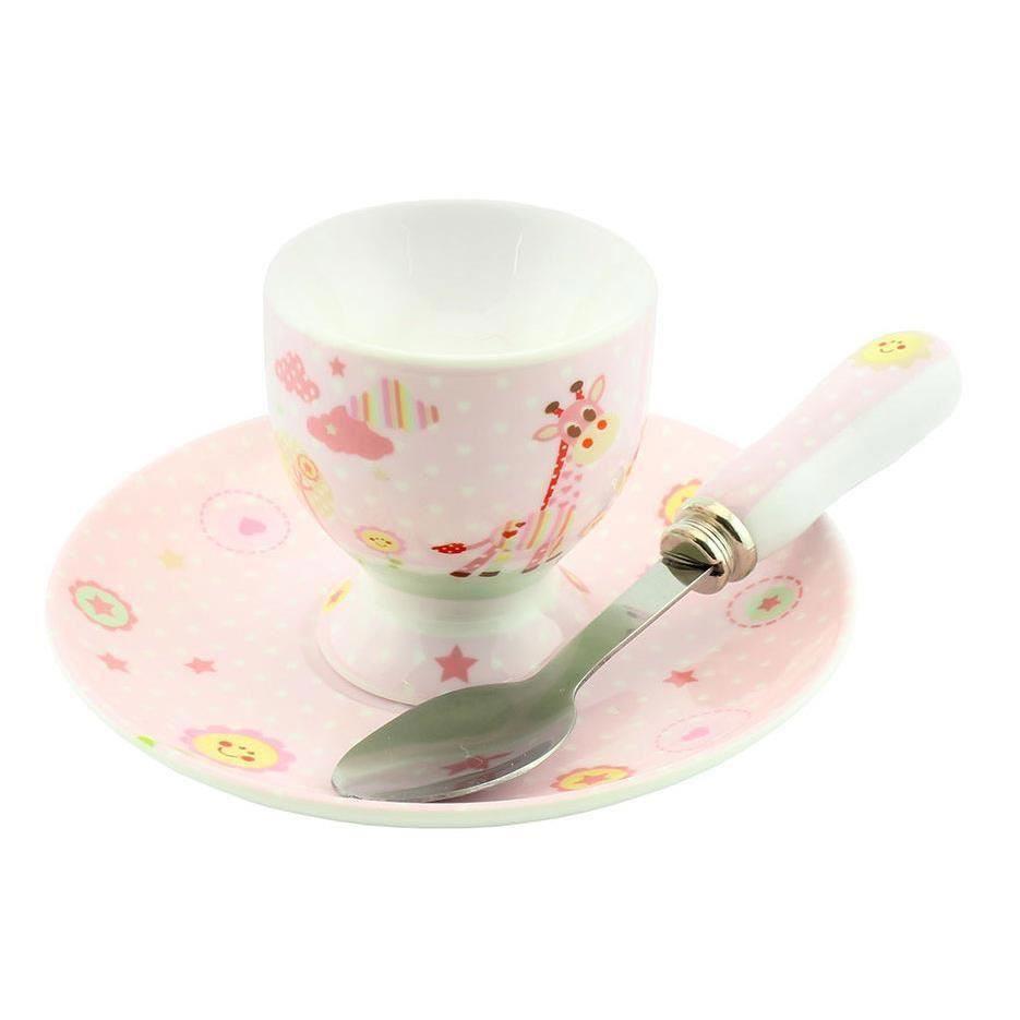 Little Sunshine - Set roz pentru mic dejun cu suport pentru ou