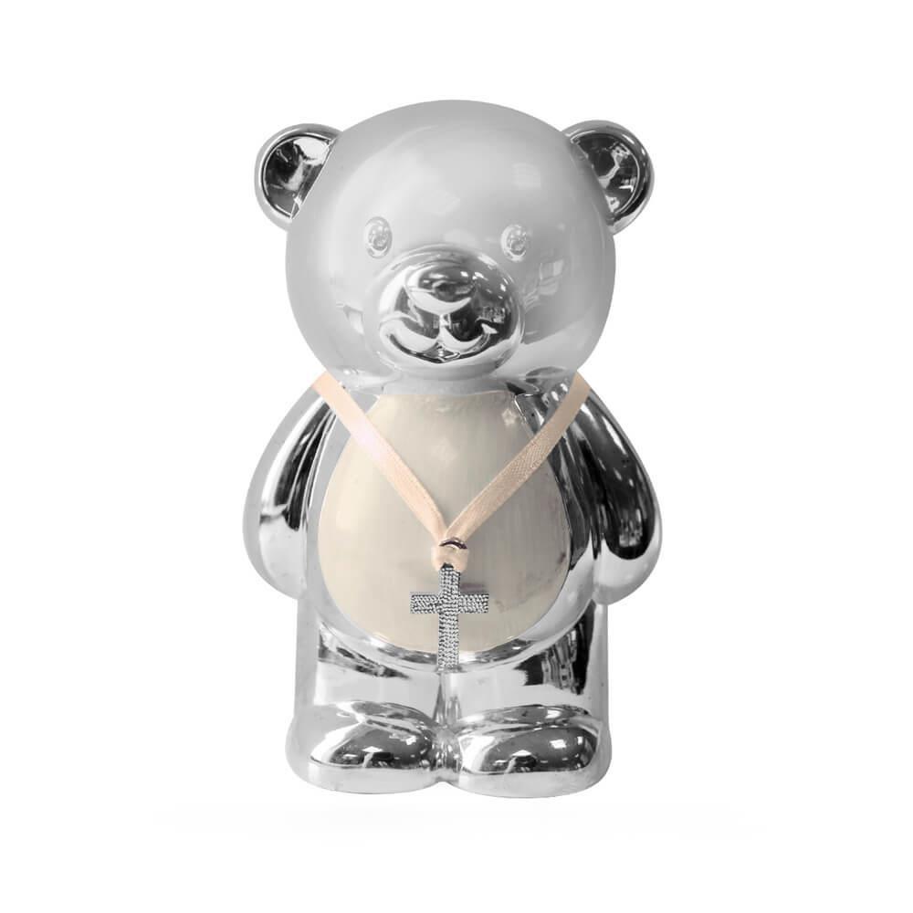 Pusculita argintata ursulet cu burtica bej