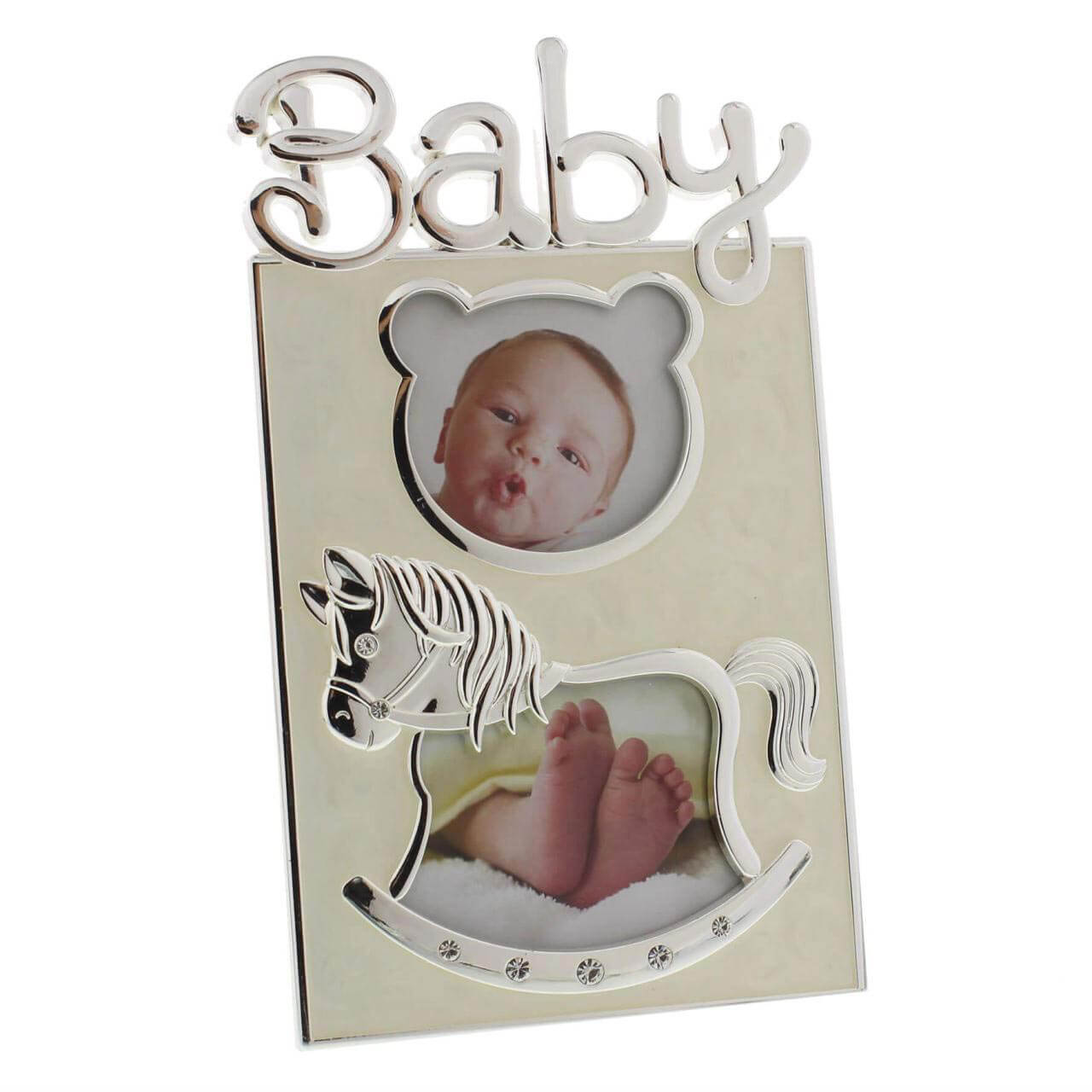 Rama foto argintata cu ursulet Baby
