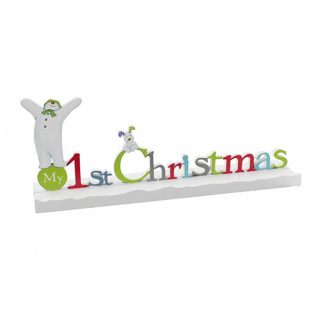Placuta My First Christmas cu om de zapada si catel