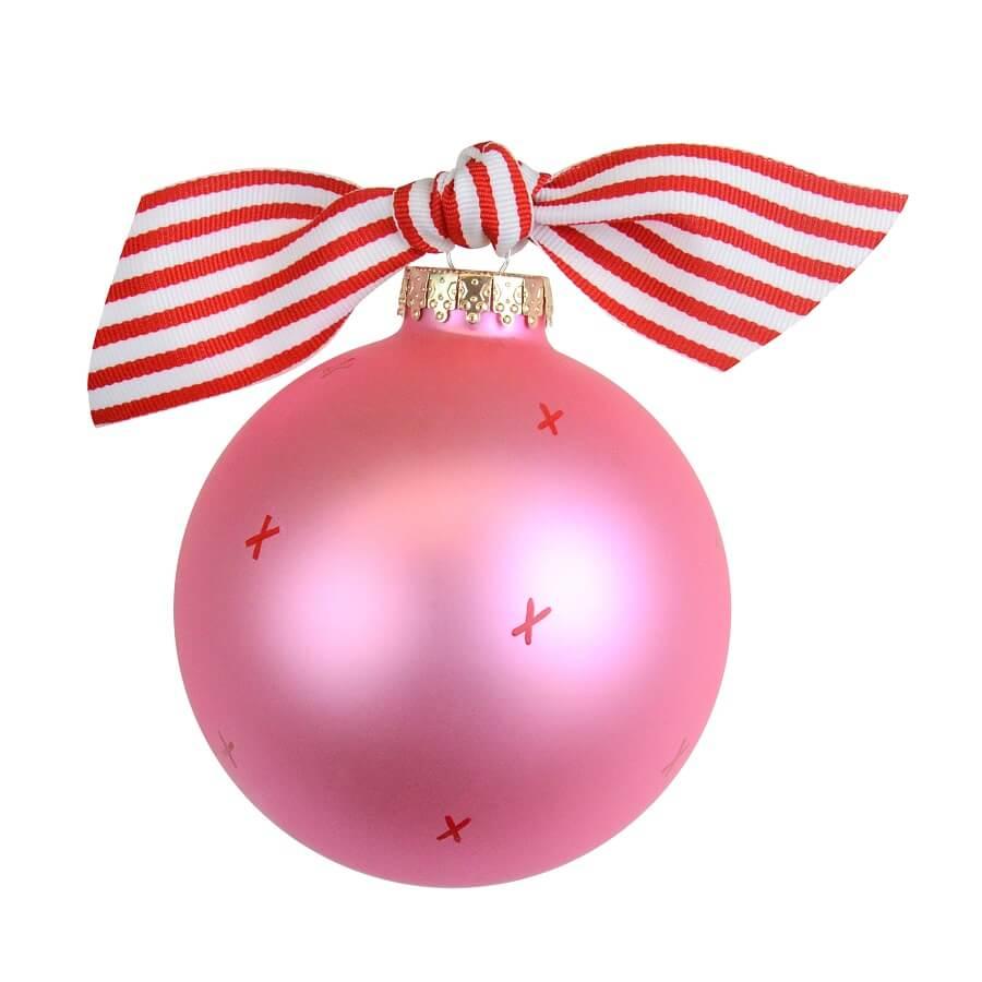 Glob roz pentru Craciun cu mesajul My first Christmas