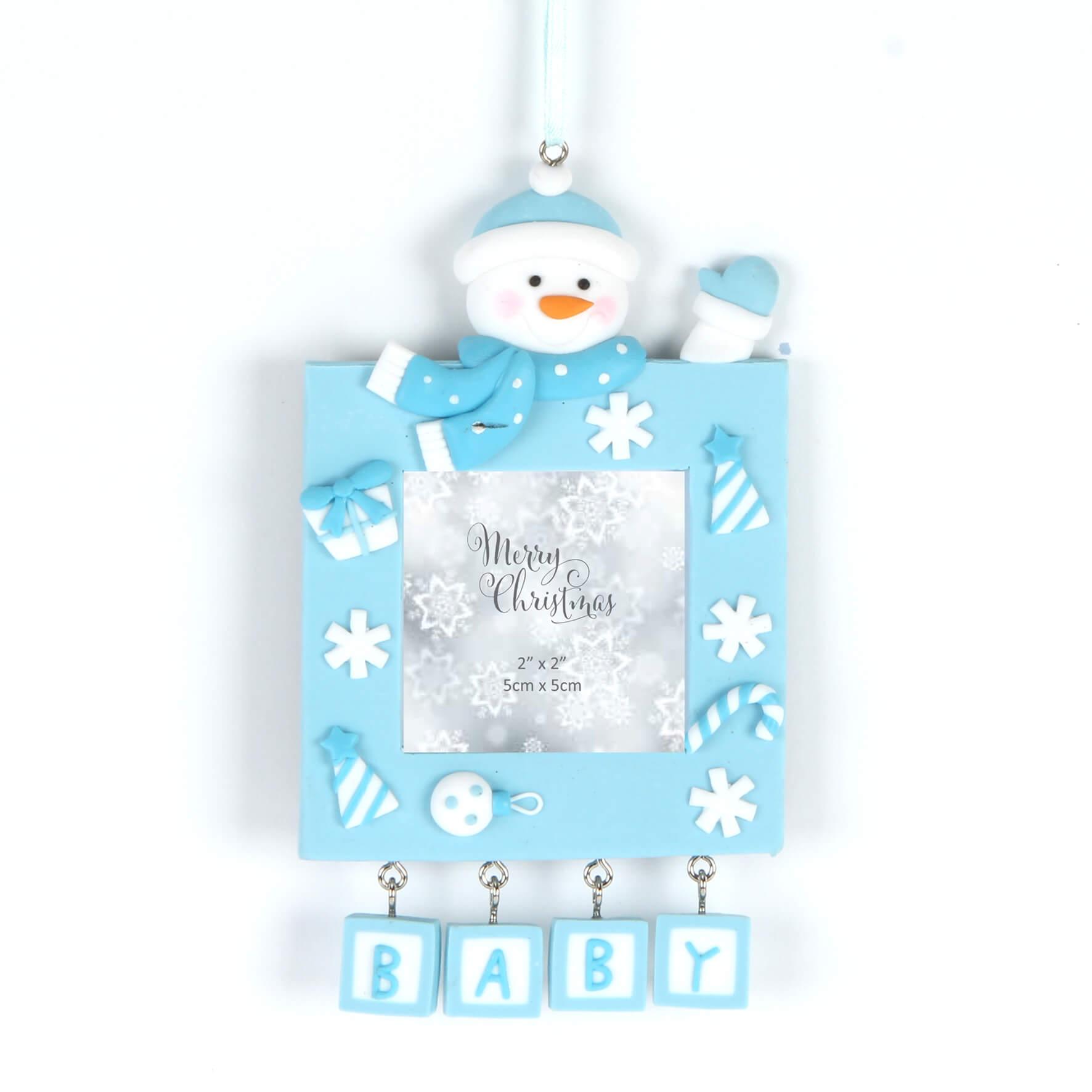 Rama foto bleu Merry Christmas Baby