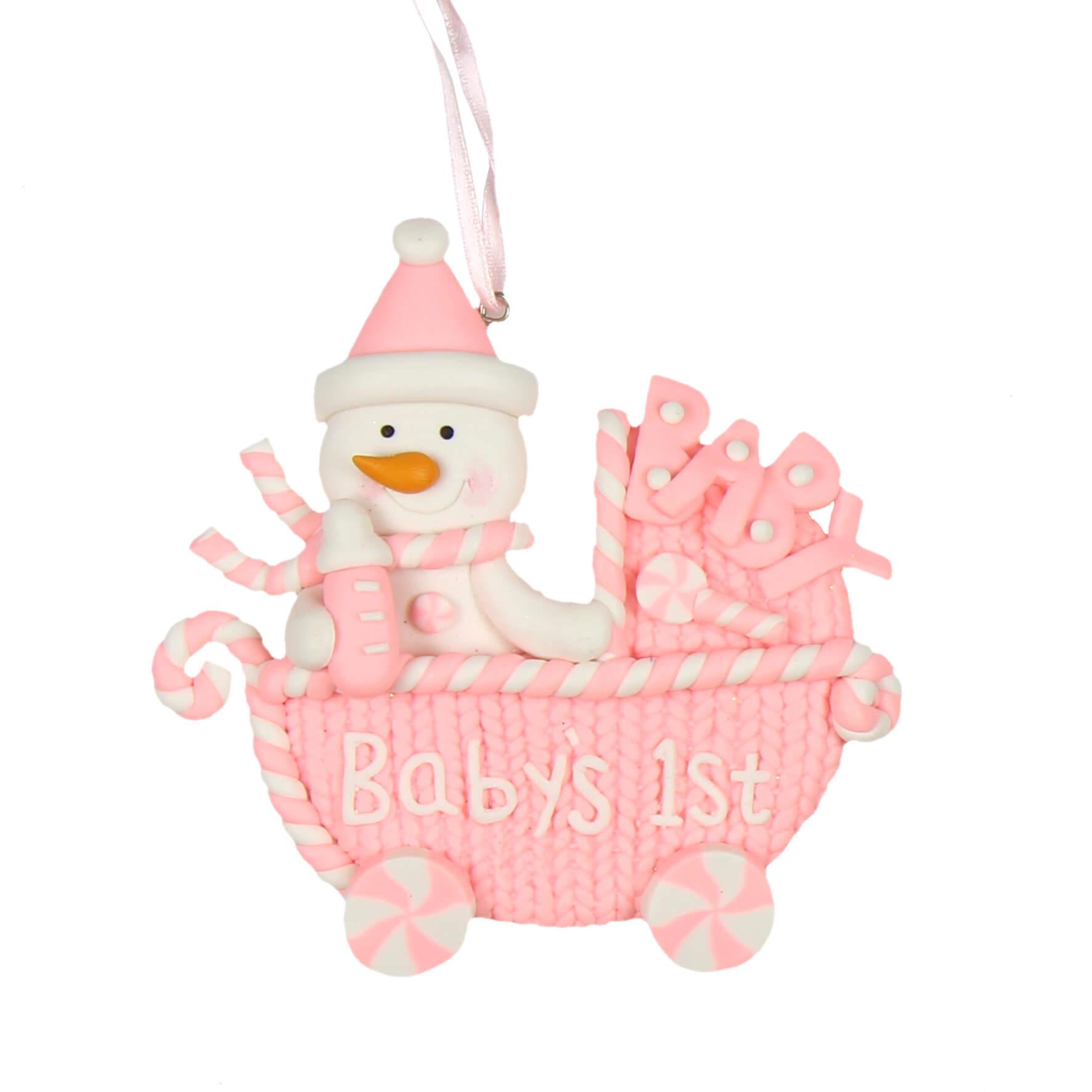 Decoratiune carucior roz Baby's 1st Christmas